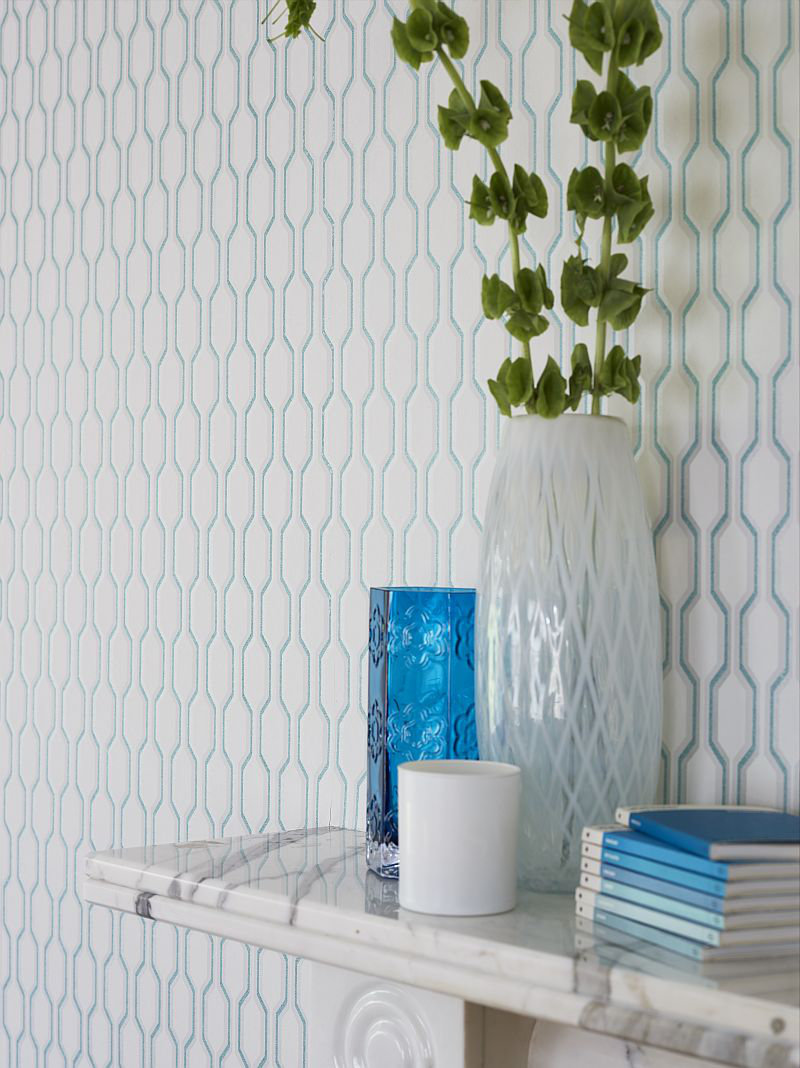 Honeycomb By Casadeco Aqua Wallpaper Wallpaper Direct
