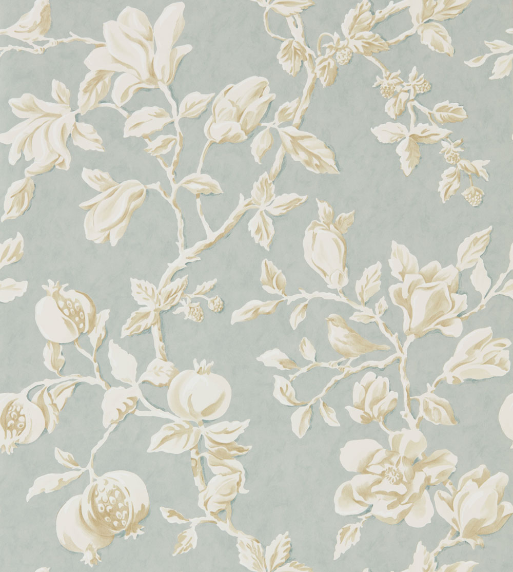Sanderson Magnolia & Pomegranate Grey Blue and Parchment Wallpaper main image