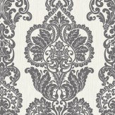 Albany Rochester Damask Black / Silver Wallpaper