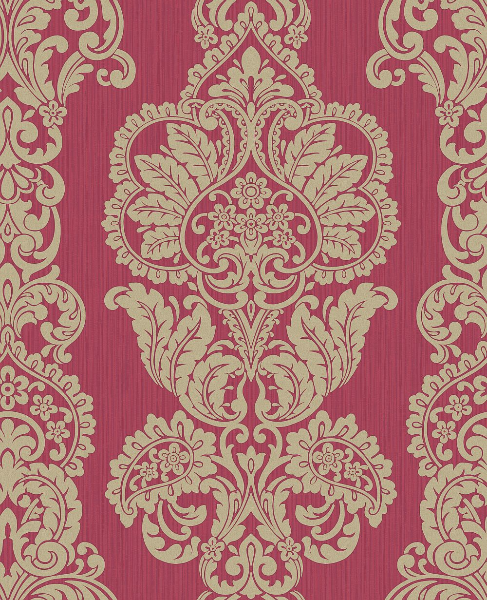Albany Rochester Damask Red / Gold Wallpaper main image