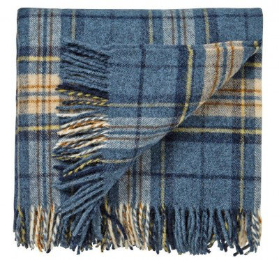 Image of Morris Throws Woodford Plaid Blue Throw, 021040