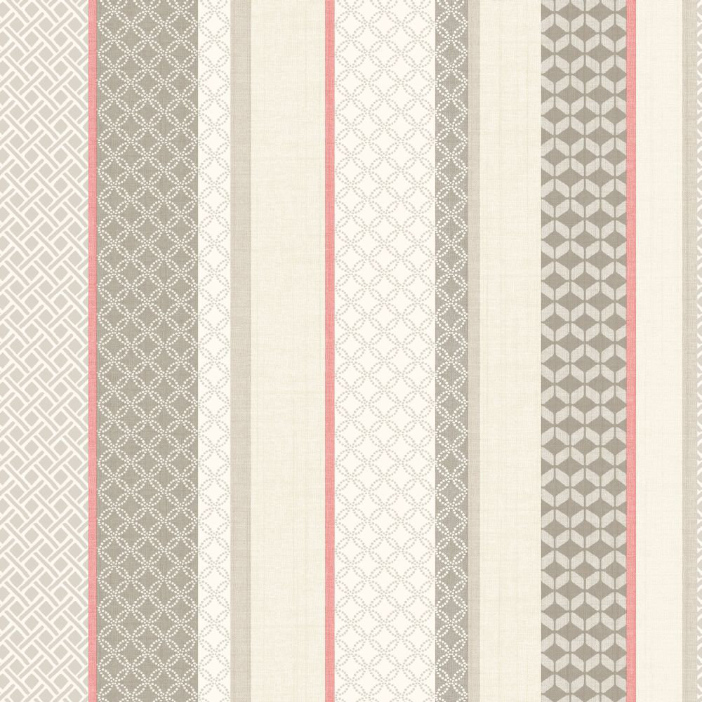 Albany Mika Stripe Red & Chocolate Wallpaper main image