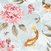 Albany Koi Teal & Coral Wallpaper