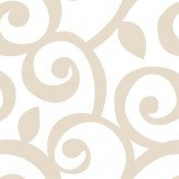 Galerie Leaf Trail Beige / White Wallpaper