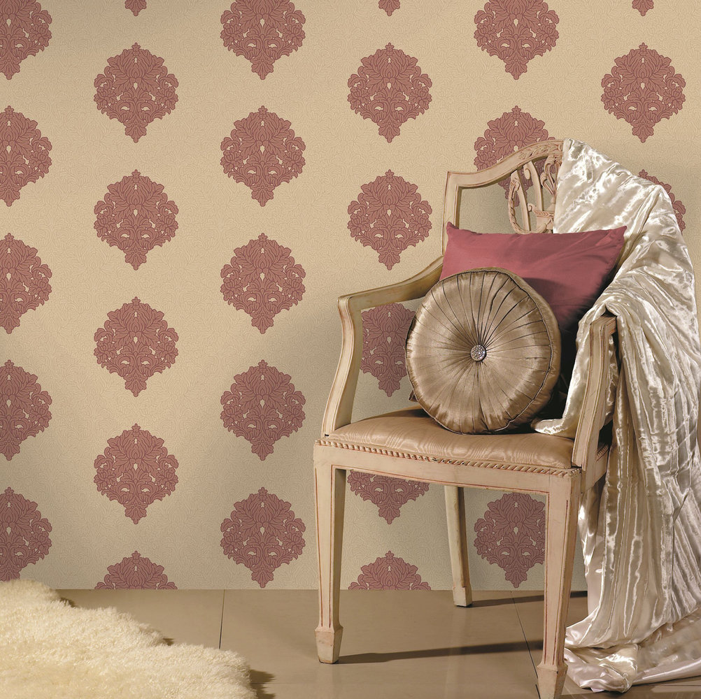 Albany Floriana Damask Beige Red Wallpaper - Product code: 35340