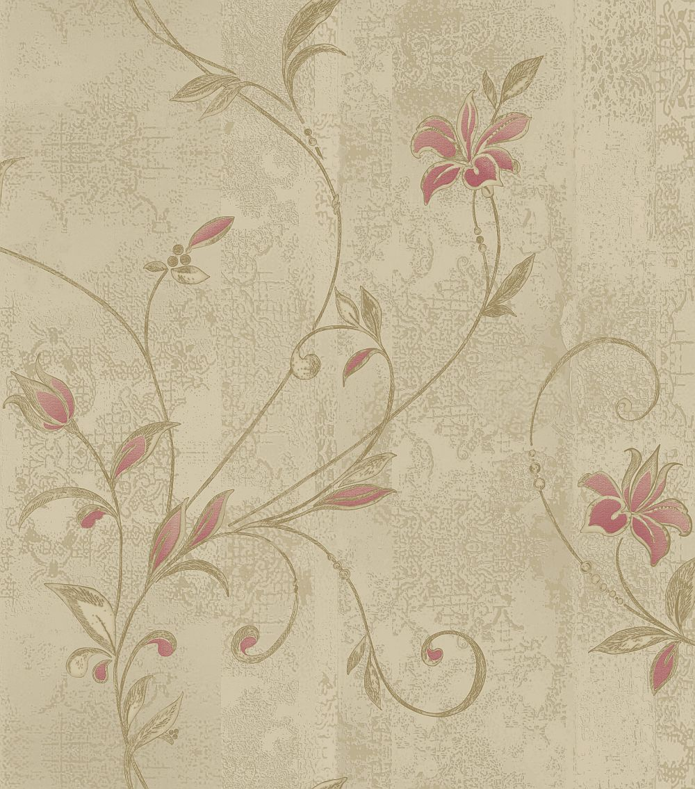 Albany Abelie Red Taupe Wallpaper main image