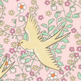 Eijffinger Floral Swallows Yellow Wallpaper