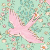 Eijffinger Floral Swallows Pink Wallpaper