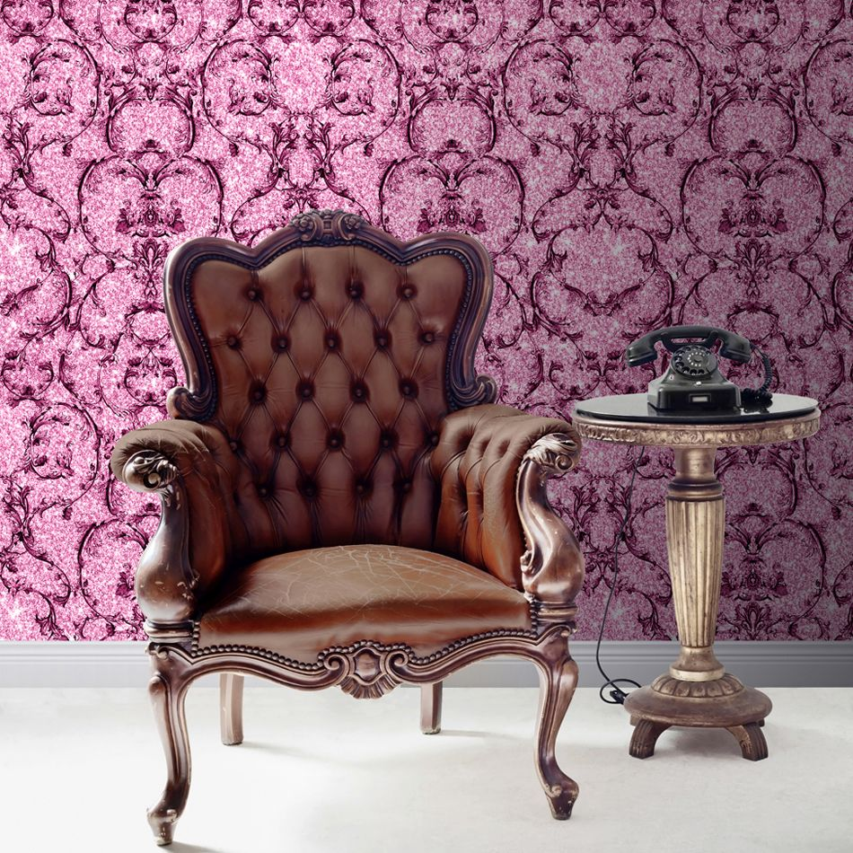Albany Baroque Scroll Hot Pink Wallpaper - Product code: 701347
