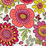 Scion Bloomin Lovely Raspberry / Chalk Fabric - Product code: 120448