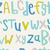 Scion Letters Play Citrus / Denim / Lagoon Fabric - Product code: 120456