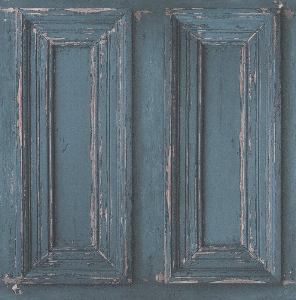 Wood Panelling By Casadeco Teal Wallpaper Direct