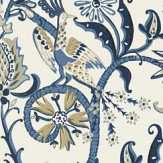 Thibaut Peacock Garden Blue Wallpaper