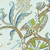 Thibaut Peacock Garden Aqua Wallpaper - Product code: T24360