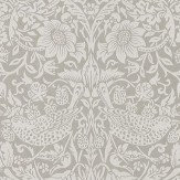 Morris Pure Strawberry Thief Silver / Stone Wallpaper