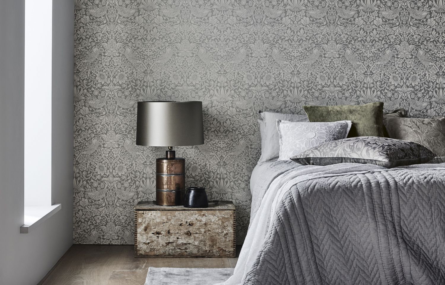 Morris Pure Strawberry Thief Silver / Stone Wallpaper - Product code: 216017