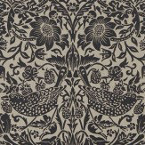 Morris Pure Strawberry Thief Gilver / Graphite Wallpaper