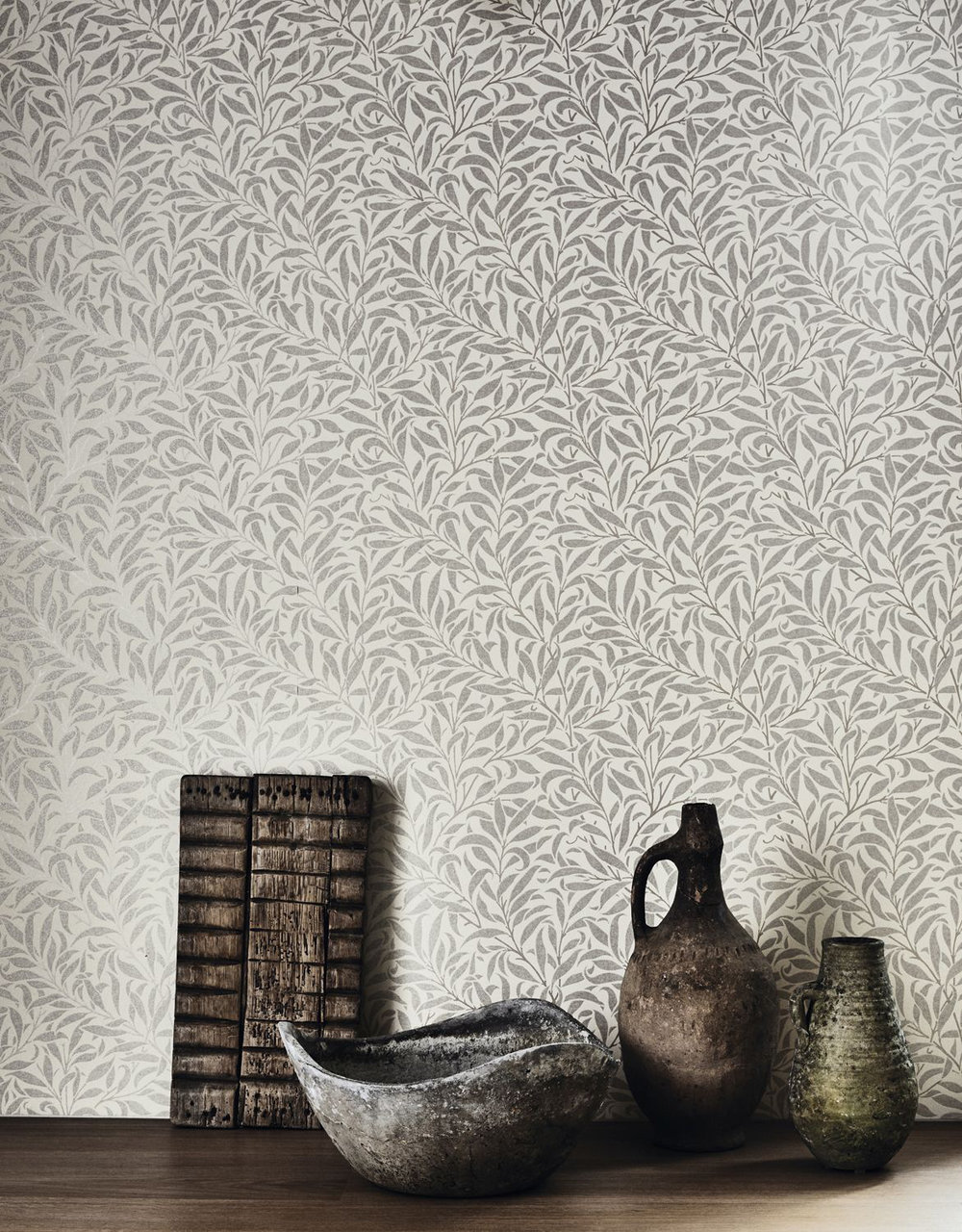Pure Willow Bough Wallpaper - Ecru / Silver - by Morris