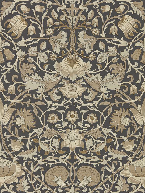 Morris Pure Lodden Charcoal / Gold Wallpaper main image