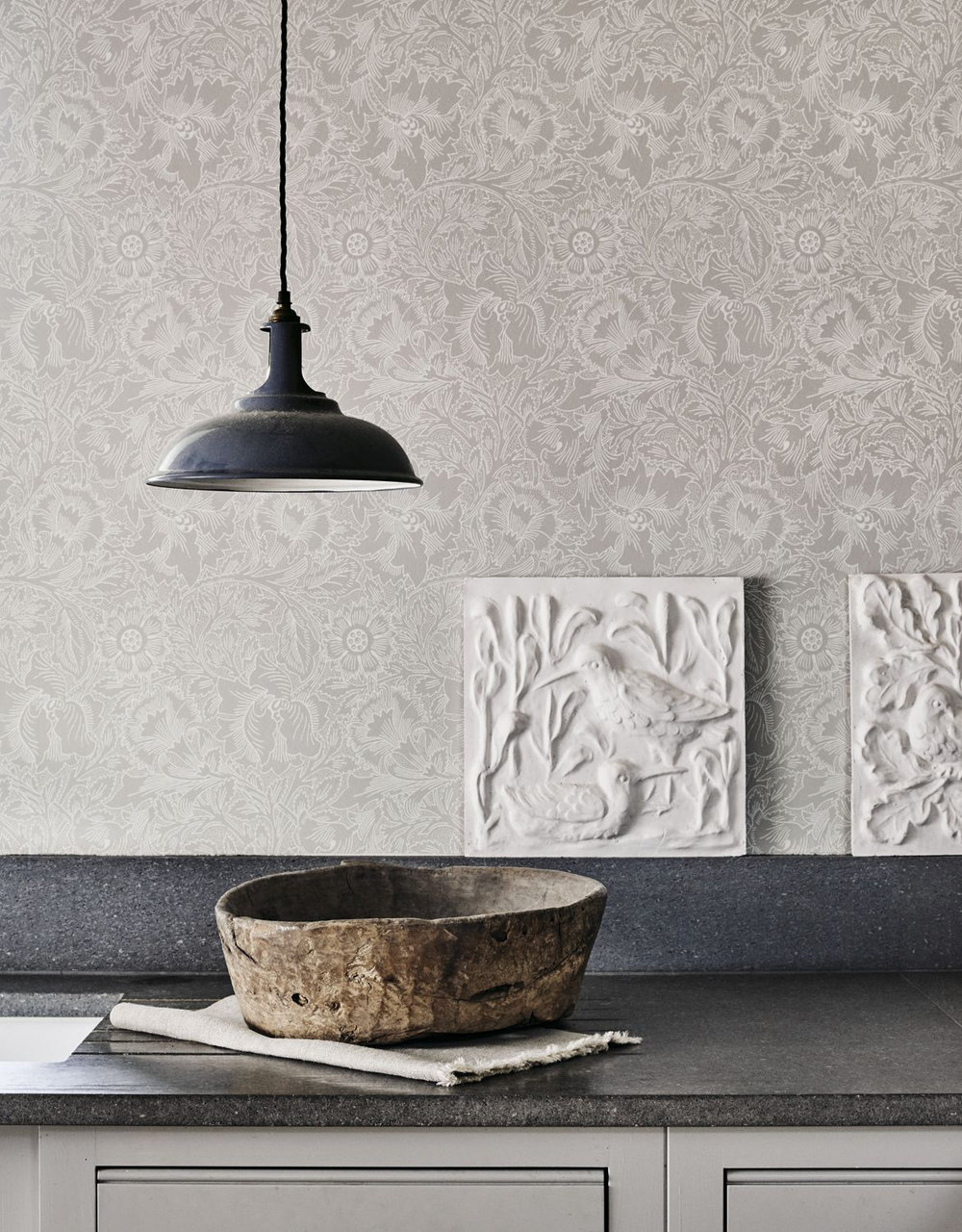 Pure Poppy Wallpaper - Dove / Chalk - by Morris