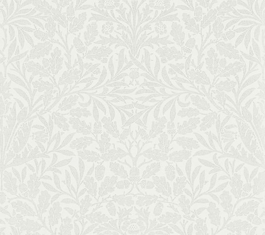 Morris Pure Acorn Chalk / Silver Wallpaper - Product code: 216043