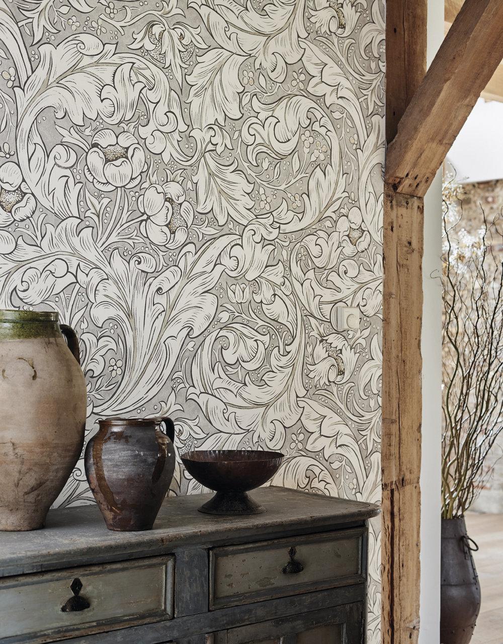 Pure Bachelors Button Wallpaper - Stone / Linen - by Morris