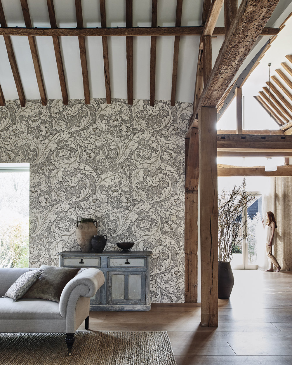 Pure Bachelors Button Wallpaper - Linen / Coral - by Morris