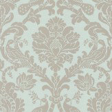 Thibaut Passaro Damask Metallic Pewter / Seafoam Wallpaper - Product code: T89137