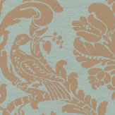 Thibaut Passaro Damask Metallic Gold / Aqua Wallpaper - Product code: T89141