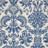 Thibaut Ashley Damask Blue / White Wallpaper - Product code: T89165