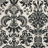 Thibaut Ashley Damask Black / Cream Wallpaper - Product code: T89167