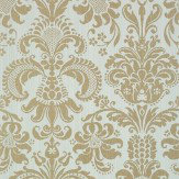 Thibaut Ashley Damask Metallic Gold / Aqua Wallpaper - Product code: T89169