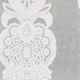 Thibaut Rowan Damask Flock White / Silver Foil Wallpaper