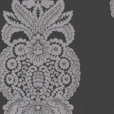 Thibaut Rowan Damask Silver / Black Wallpaper - Product code: T89132