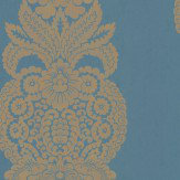Thibaut Rowan Damask Gold / Peacock Wallpaper - Product code: T89133