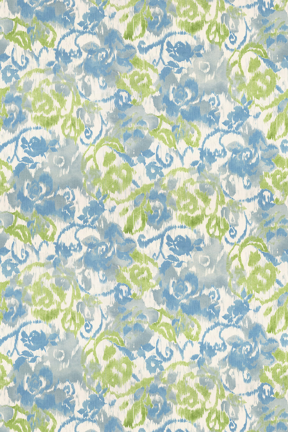 Waterford Floral Fabric - Blue and Green - by Thibaut