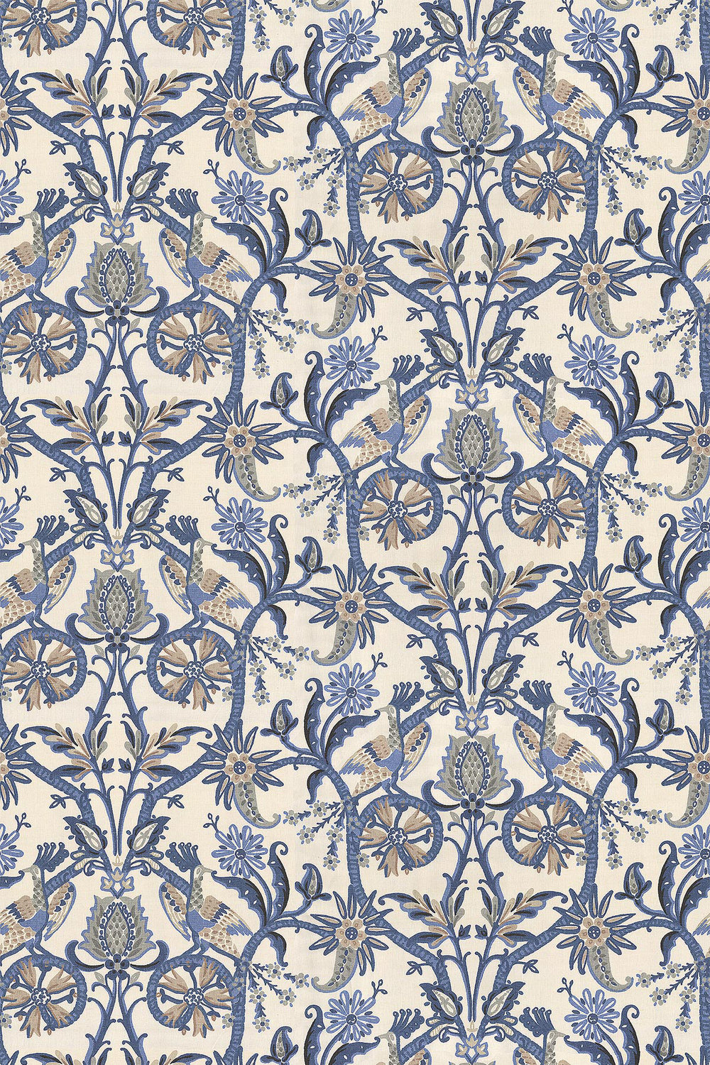 Peacock Garden By Thibaut Blue Fabric Wallpaper Direct