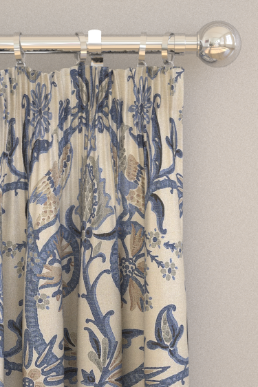 Thibaut Peacock Garden Blue Curtains