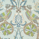 Thibaut Peacock Garden Blue and Green Fabric