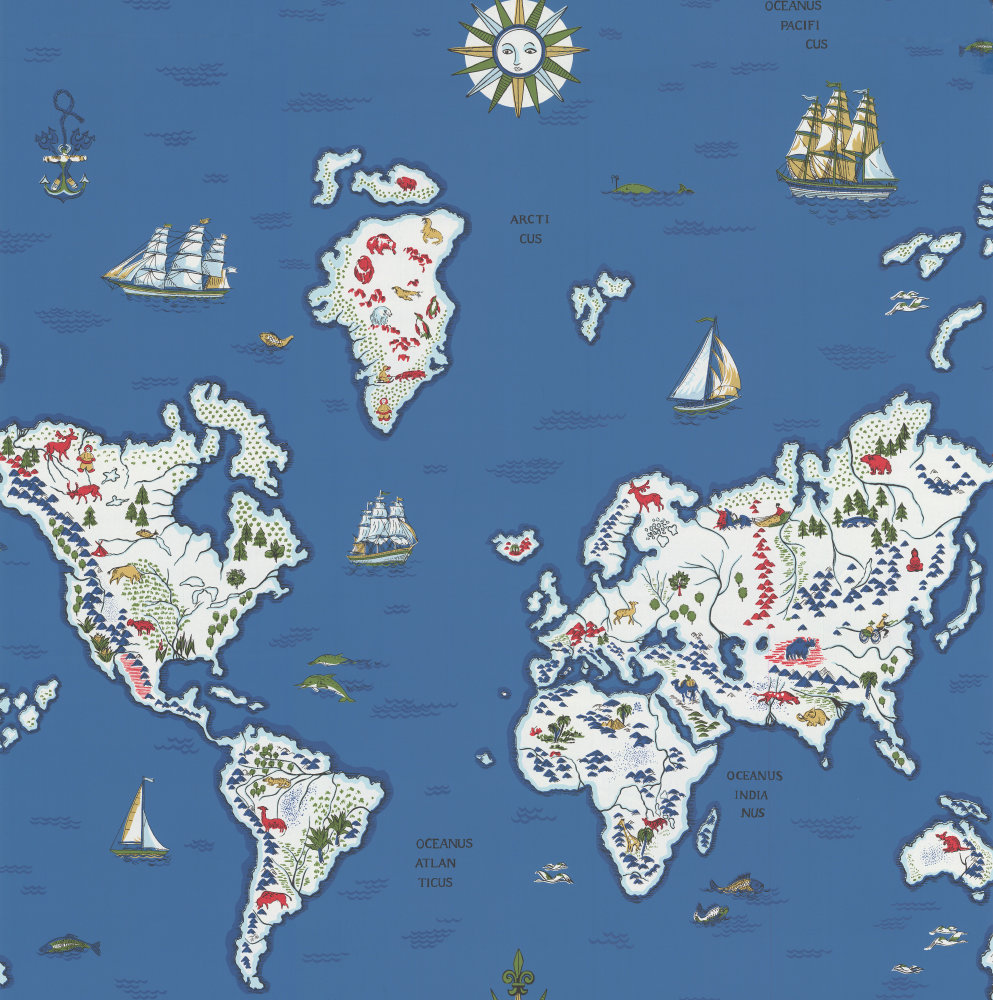 Expedition novelty map by ralph lauren baltic blue wallpaper direct ralph lauren expedition novelty map baltic blue wallpaper main image gumiabroncs Images