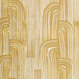 Lee Jofa Kelly Wearstler Crescent Gold / Ivory Wallpaper