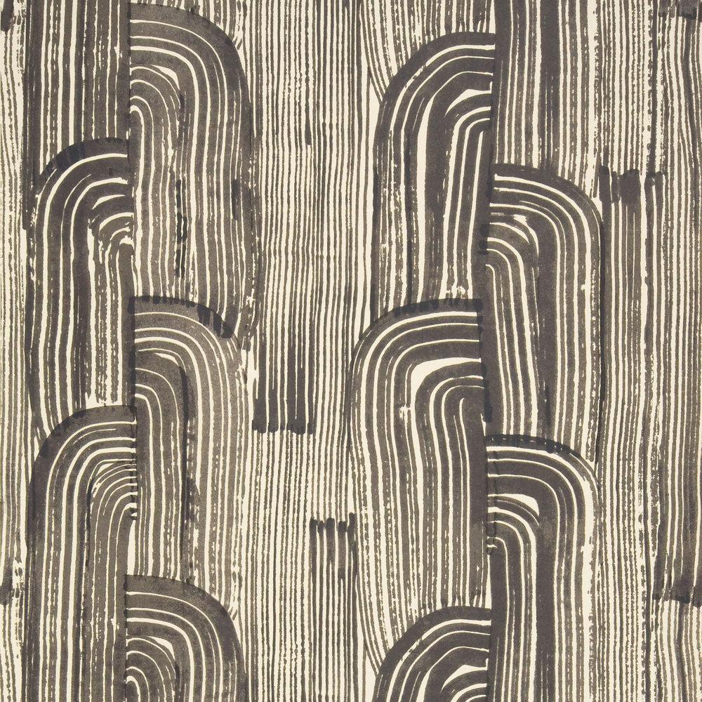 Kelly Wearstler Crescent Wallpaper - Ebony / Cream - by Lee Jofa
