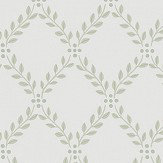 Boråstapeter Trellis leaves Green and White Wallpaper - Product code: 4009