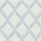 Boråstapeter Trellis Leaves Blue and White Wallpaper - Product code: 4010