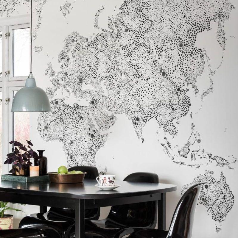 World Map Mural - Black - by Sandberg