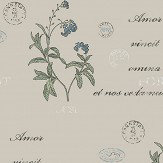 Boråstapeter Forget Me Not Beige, Blue and Green Wallpaper - Product code: 4020