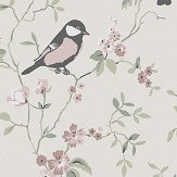 Boråstapeter Falsterbo Birds Pink, Green and White Wallpaper