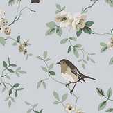 Boråstapeter Falsterbo Birds Beige, Green and Blue Wallpaper