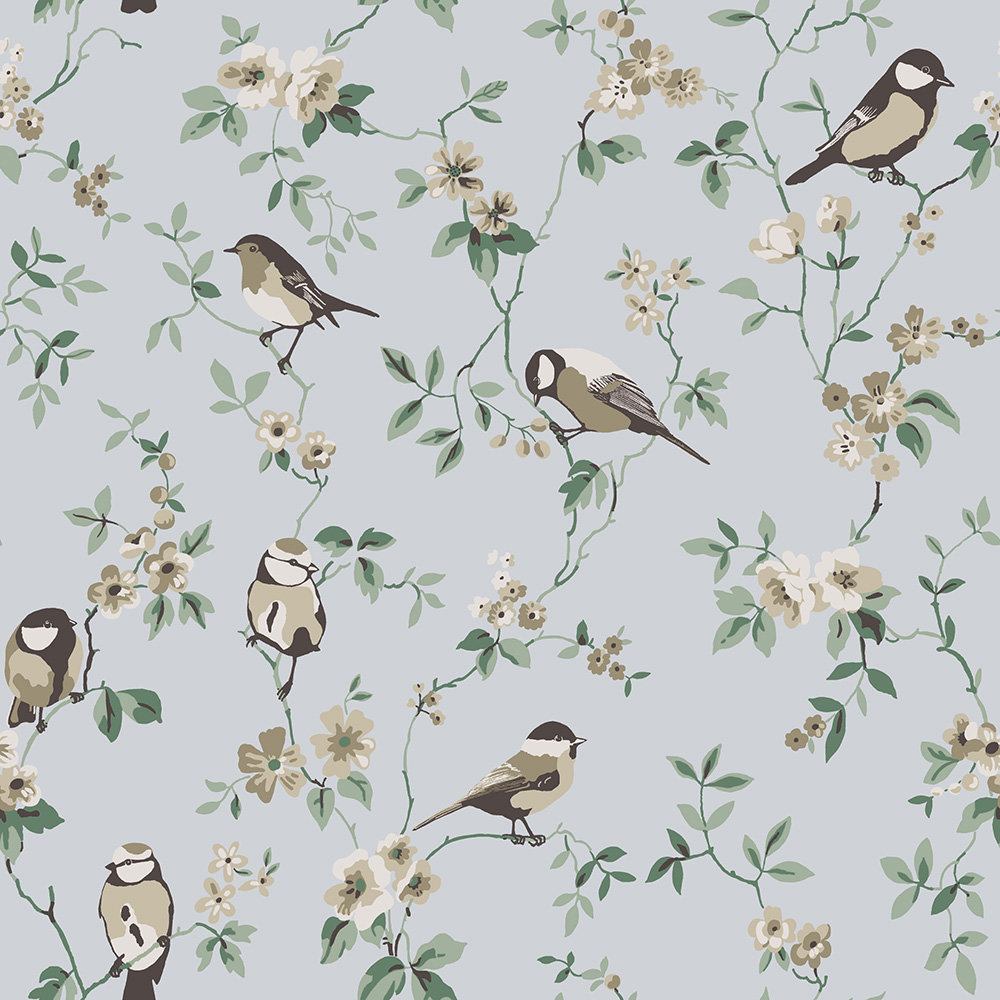 Boråstapeter Falsterbo Birds Beige, Green and Blue Wallpaper - Product code: 4025