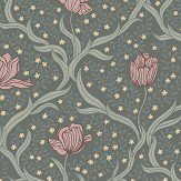 Boråstapeter Tulippa Dark Green and Pink  Wallpaper - Product code: 4033